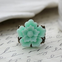 SHOP SALE- Soft Mint Green Sakura Filigree Ring in Antique Brass. Sea Foam Green.