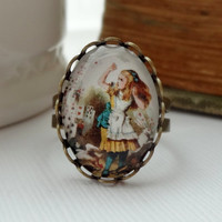 Vintage Style Alice in Wonderland Statement Ring.