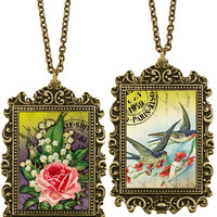 LAVISHY handmade reversible pendant necklace feature vintage graphic of rose, lily of valley bouquets and swallows with love letter