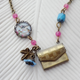 SHOP SALE- Love Note Locket Necklace. Flying Bird. Blue. Pink