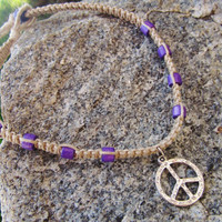 Kids Peace Necklace Macrame Hemp Purple Wooden Beads Natural Eco-Friendly
