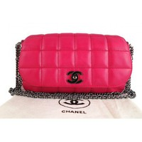 Chanel Hot Pink Lambskin 10inch Medium 2.55 Classic Flap Bag