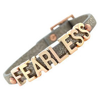 BCBGeneration Bracelet, Rose Gold-Tone Platinum Glitter PVC Fearless Mini Affirmation Bracelet - Fashion Jewelry - Jewelry &amp; Watches - Macy&#x27;s