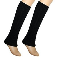 Amazon.com: Cable Knit Trimmed Classic Boot Shaft Style Soft Acrylic Leg Warmer - Black: Clothing