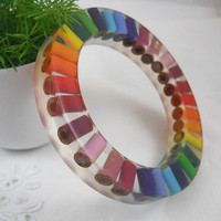Resin Bangle  Bracelet  Colored Pencil  Bangle Bracelet by miceart