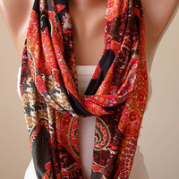 New - Valentine's Day Gift - Red and Black Infinity Scarf with Golden Sequins - Jersey Fabric