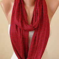 Red and Black Striped Infinty Scarf  - Circle -  Loop Scarf - Combed Cotton Fabric