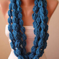 New - Blue Wool Infinity Scarf  - Crochet Scarf