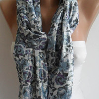 Valentines Day - Grey and Purple Flowered Scarf  - Silvery Fabric