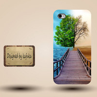 iphone case, i phone 4 4s 5 case,cool cute iphone4 iphone4s 5 case,stylish plastic rubber cases cover, greenism tree bridge sea desert p1053