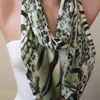 Green Leopard Print - Infinity  - Circle -  Loop Scarf - Cotton Jersey