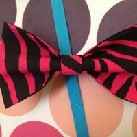 Pink/Black Zebra Hair Bow by PocketTeesandThings on Etsy