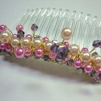 Pink & Purple Pearl and Crystal Comb