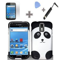 Rubberized Panda Bear Snap on Design Hard Case with Screen Protector Film,Case Opener and Stylus Pen for T-Mobile Samsung Hercules T989 Galaxy S2 - Black/White:Amazon:Cell Phones & Accessories