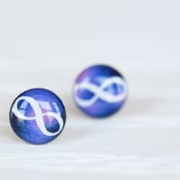 Galaxy Infinity Post Earrings - Hypoallergenic Studs