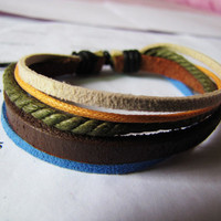 Brown Leather and Cotton Ropes Woven Women Leather by braceletcool