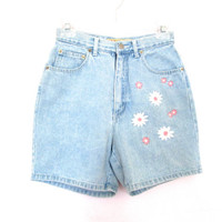 "90's Floral High Rise Denim Shorts size - XS/S 26"" waist"