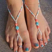 Pearl, Coral and Turquoise Wedding Barefoot Sandals Bridal Jewelry Anklet Toe Ring