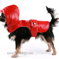 Spring Dog clothes XS Hooded Red dog Rain Coat by PetitDogApparel