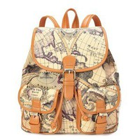 Columbus sailing map backpack orange