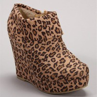 Suede Leopard Print Wedge Booties