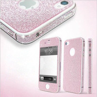 Pink Shiny Rhinestone Full Body Cover Skin Sticker Shield For IPhone4/4s/5