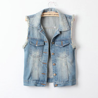 SakuraShop  West Street Style Denim Vest