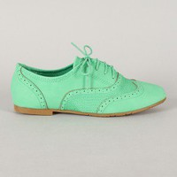 Galen-05 Stitched Lace Up Oxford Flat