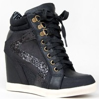 Bamboo JODIE-01 Glitter Detailed Hidden Wedge Heel Lace Up High Top Wedge Sneaker Shoe:Amazon:Shoes
