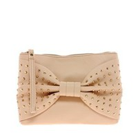 New Look Stud Bow Gracie Clutch Bag at asos.com