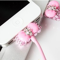 Pink Rhinestone Bow USB Cable Cord (1M) &amp; USB Power Charger For Iphone 4/4s