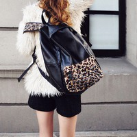 Splicing leopard rivet package Backpack