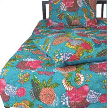 Karma Living | Boho Shabby Chic | Floral Quilt Set Turquoise| Teen ...