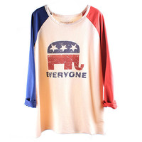 Elephant USA Flag Looose Baseball T-shirt