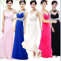 luxury chiffon halter v neck paillette lady party formal attire full dress  s2