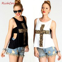 Black Leopard Cross Print Drop Hem Tank