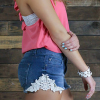 Crochet Trim Denim Shorts