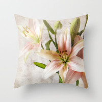 Textured Lilies Throw Pillow by Susan Weller