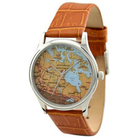 Vintage Map Watch (Canada) in Silver