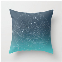 DIY OMBRE Summer Stars, vintage celestial chart pillow KIT, made to order, 16x16 envelope style