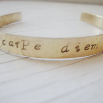 Carpe Diem handstamped brass bangle cuff bracelet
