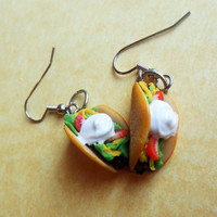polymer clay taco earrings  hook by ScrumptiousDoodle on Etsy