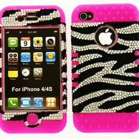 Apple iphone 4 4s crystal zebra bling snap on over pink silicone:Amazon:Cell Phones &amp; Accessories