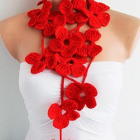 Scarlet Red Flower Lariat Scart | Missglory - Accessories on ArtFire