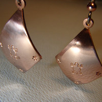 Stamped Copper Dangle Earrings with Turle Stamps and Stars