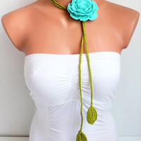 Handmade Green Crochet leaf and Mint Blue Rose Flower Lariat, Scarf