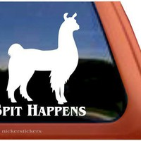 Spit Happens Llama Window Decal Sticker:Amazon:Automotive