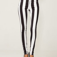 Motel Skinny Jordan Jean in Black and White Stripe - Motel Rocks