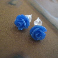 Tiny Rose Studs- Cobalt Royal Blue Floral Flower Bouquet Post Earrings
