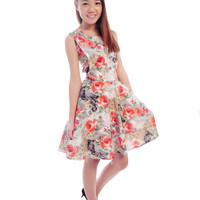 Alice in Wonderland Floral Swing Dress in Red from GlamPuss
